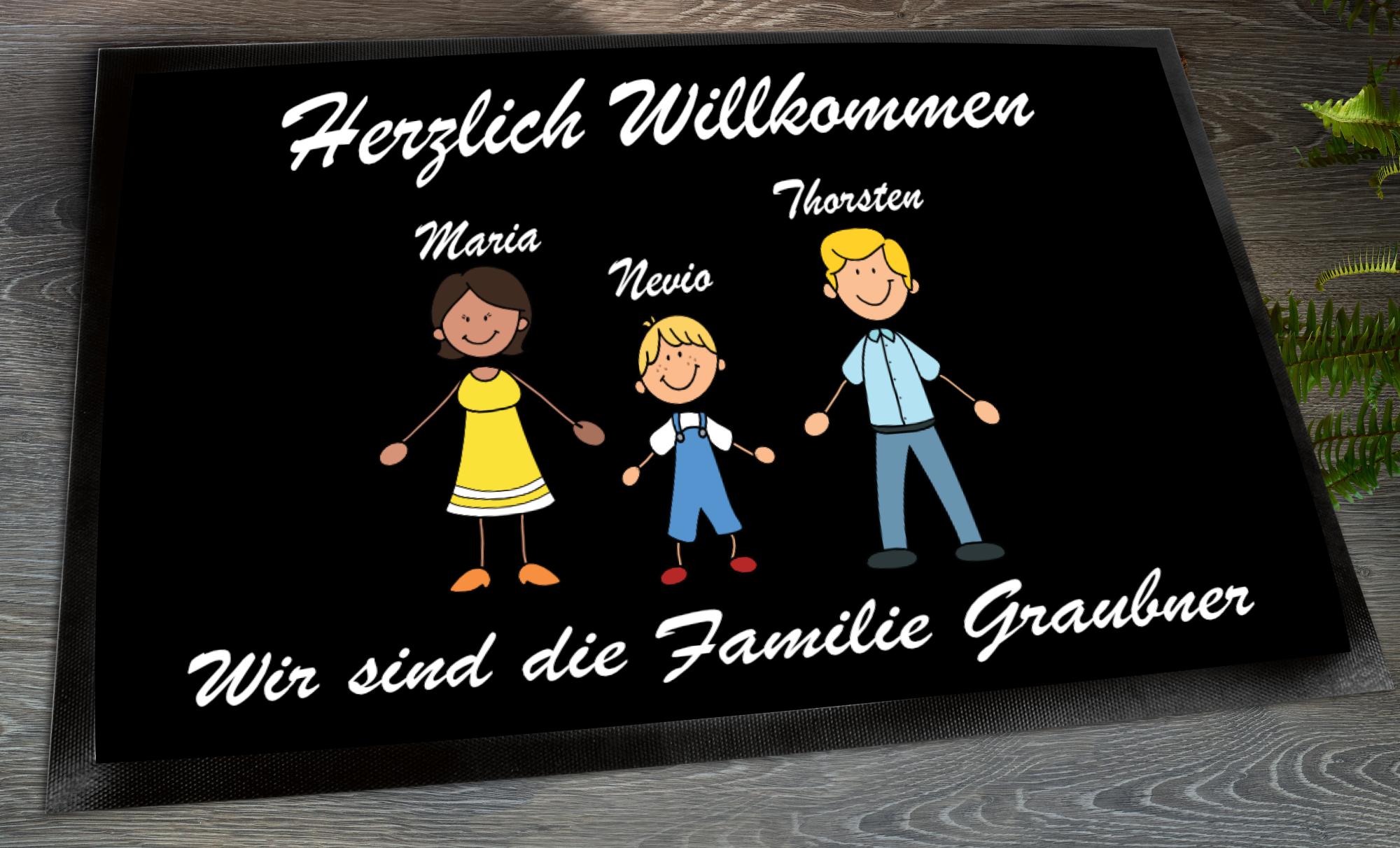 Personalisierte Fußmatte Eltern mit Sohn und Namen