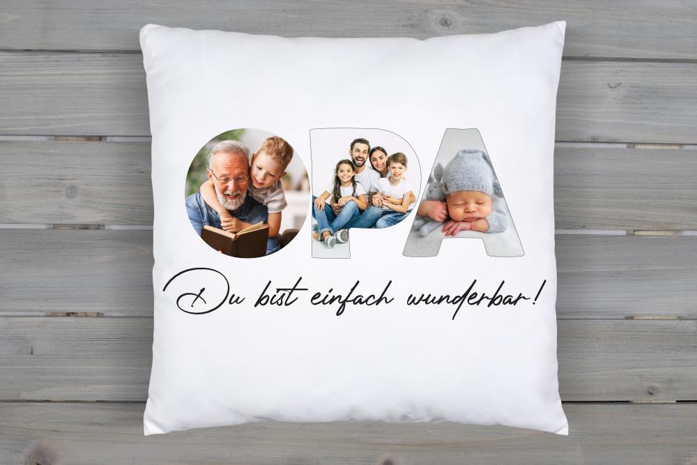 Fotokissen Opa mit 3 Wunschbildern