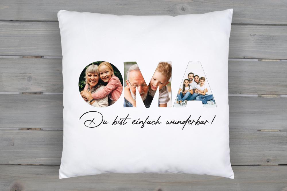 Fotokissen Oma mit 3 Familien Fotos