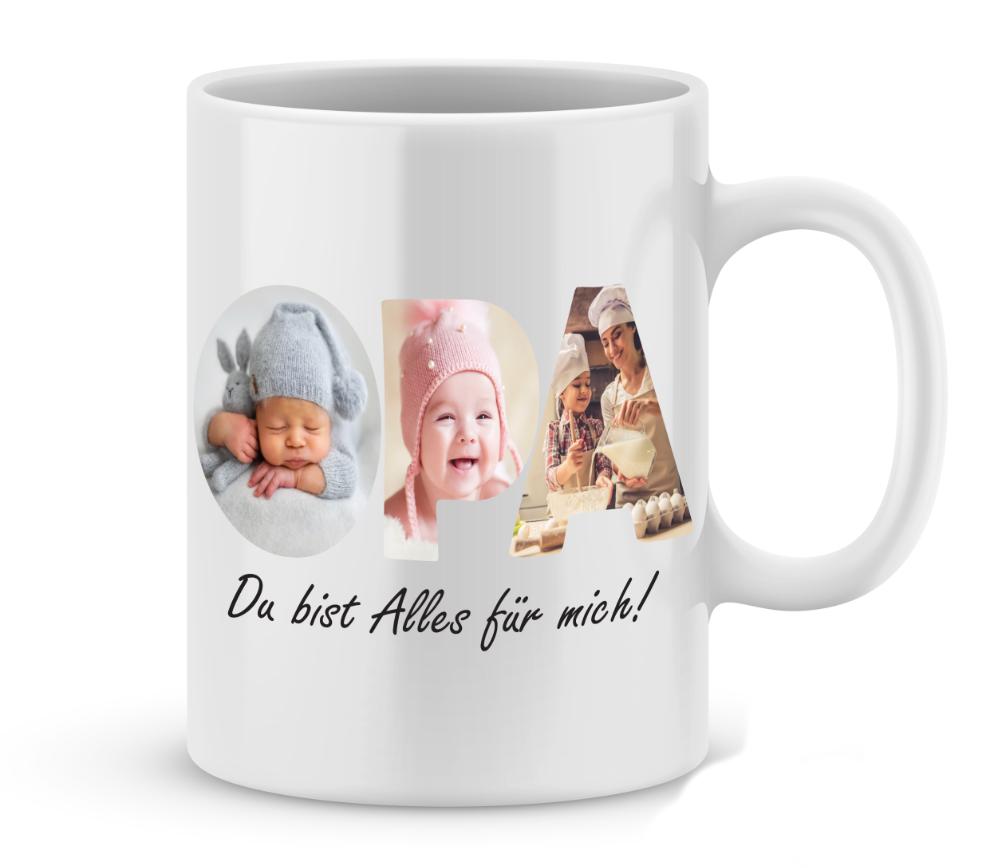 Fototasse Opa Du bist Alles für mich mit 3 Wunschbildern Tasse